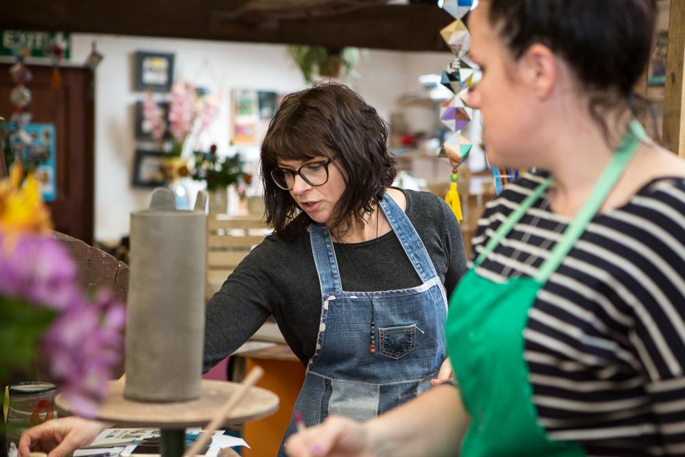 Leyla teaching a class at The Ceramics Studio