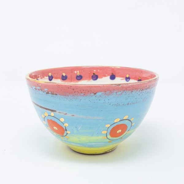 Pink, yellow and blue bowl with dots of gold luster