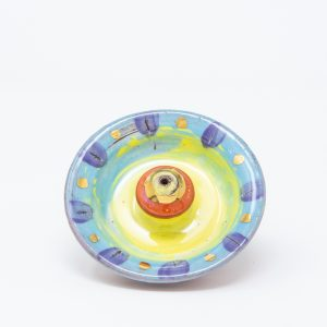 Blue and yellow ceramic incense holder with purple and gold luster dots