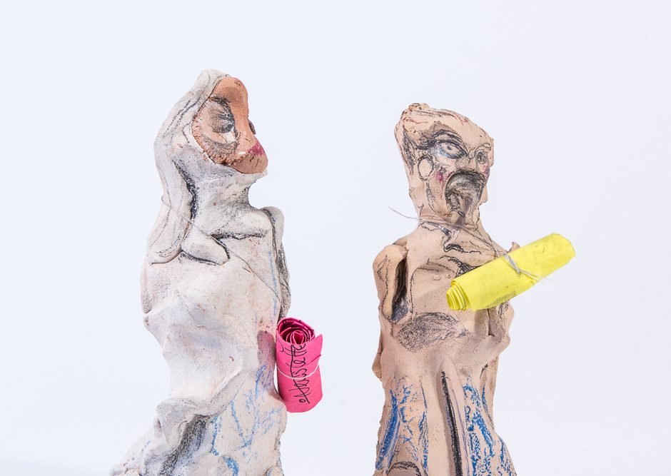 Two mixed media figures from Headspace artwork by Leyla Folwell