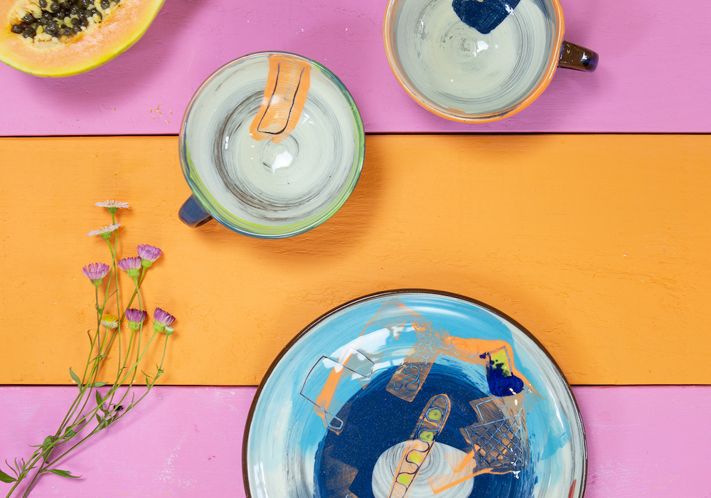 Plates and cups from Leyla Folwell's Yogi range