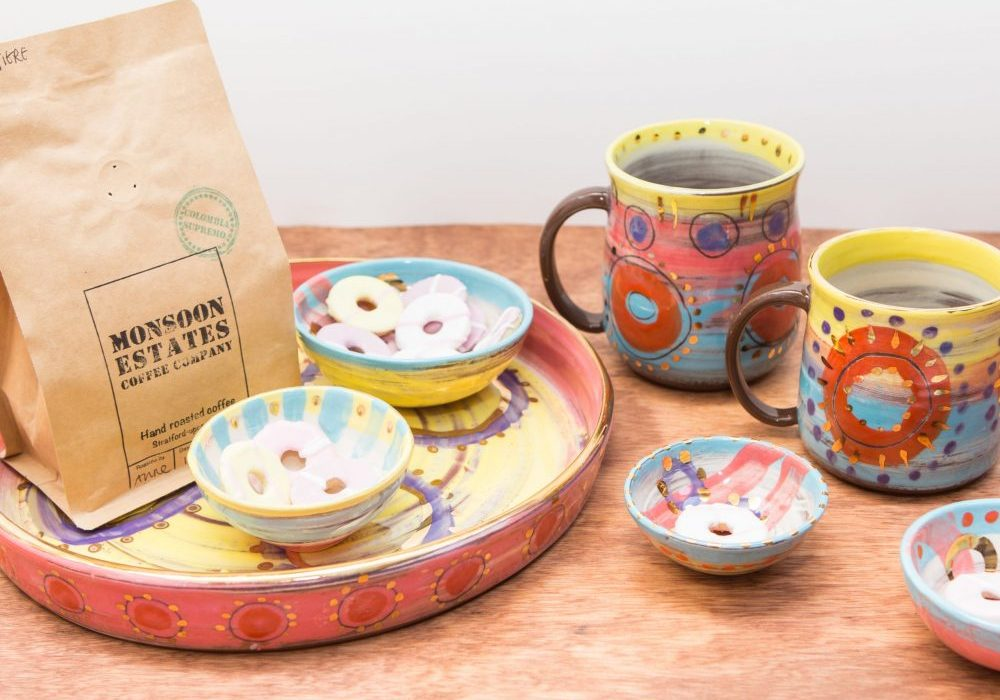 Tea and biscuits served on Colombia ceramics