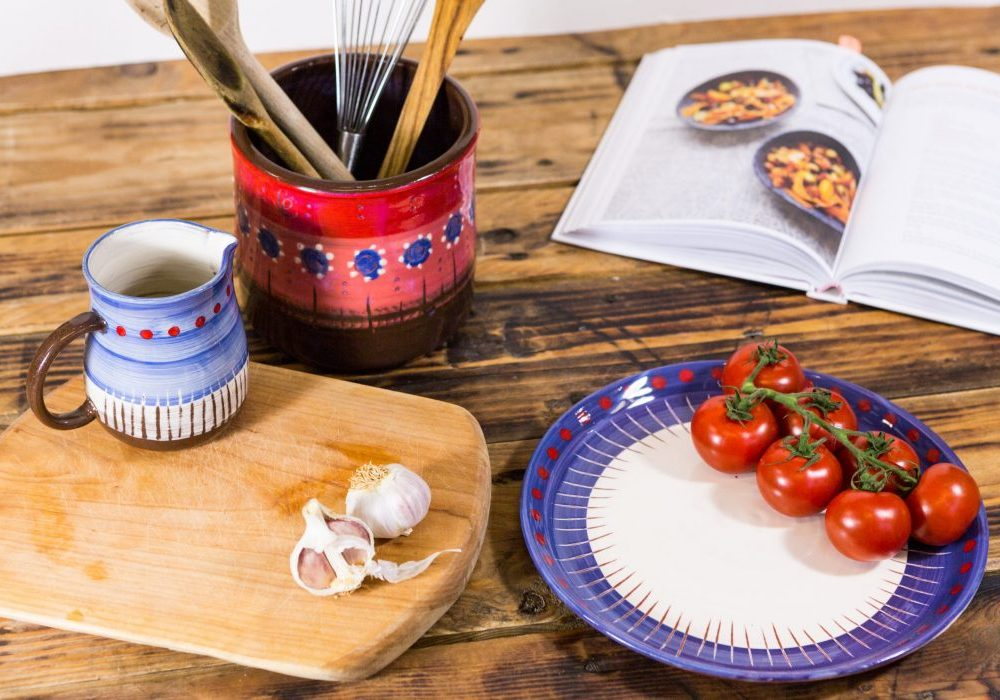 Plate, cups and pencil pots from Leyla Folwell's Poppies range