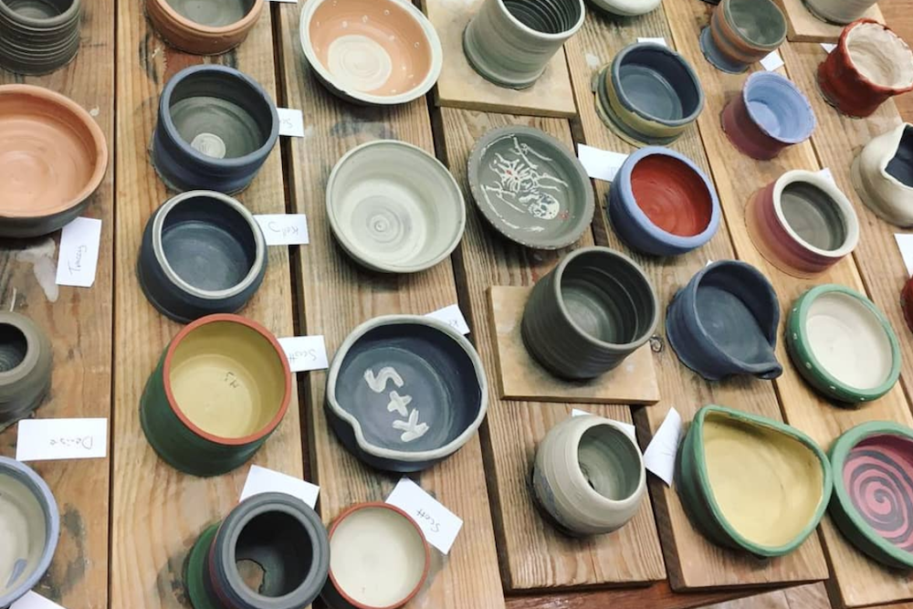 Thrown pots and bowls from a class at The Ceramics Studio