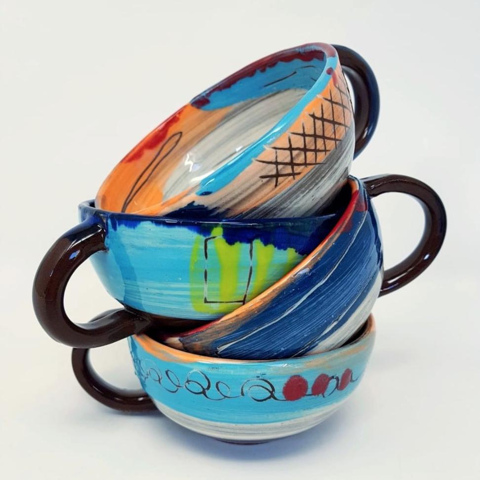 Stacked yogi teacups