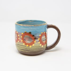 Small mug with orange circles in Leyla Folwell's Colombia range