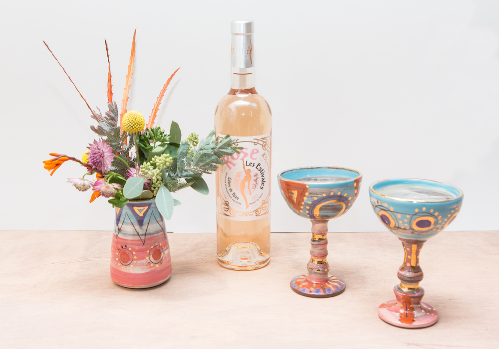 Handpainted ceramic vase and wine goblets