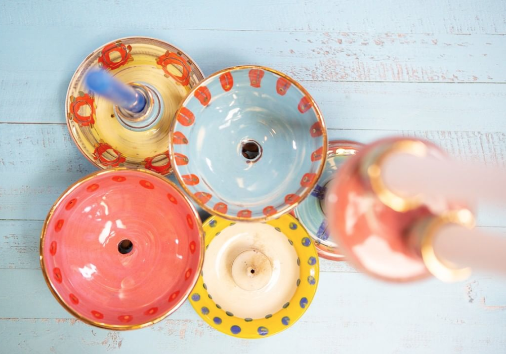 Handmade ceramic candles and incence holders