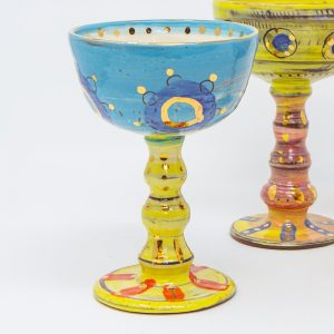 Wine, wine goblet, wine glass, Colombia, inspired, artisan, handmade, ceramics, pottery, wine ceremony, me-time, original, gold luster, bright, colours, pink, blue, purple, Leyla, Leyla Folwell