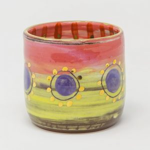 Colombia, inspired, artisan, handmade, ceramics, pottery, vase, small, table, display, gold luster, bright, colours, pink, blue, purple, Leyla, Leyla Folwell