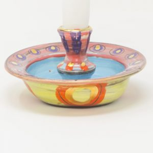 Candle holder, candlestick, Colombia, inspired, artisan, handmade, ceramics, pottery, dinner ceremony, me-time, original, gold luster, bright, colours, yellow, orangepink, blue, purple, Leyla, Leyla Folwell