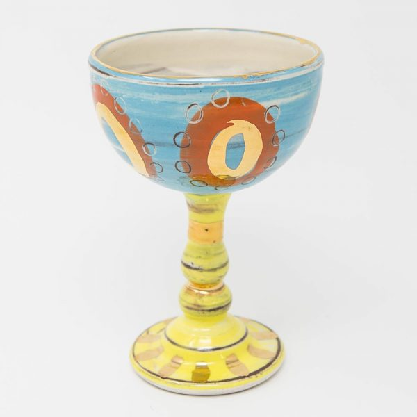 Ceramics, hand-made, pottery, bright, slipware, gold luster, goblet, foodie.