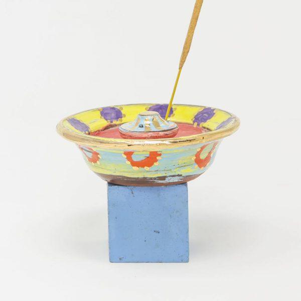 Colombia, inspired, artisan, handmade, ceramics, pottery, meditation, prayer, gold luster, bright, colours, pink, blue, purple, Leyla, Leyla Folwell