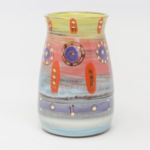 Colombia, inspired, artisan, handmade, ceramics, pottery, vase, small, table, display, gold luster, bright, colours, pink, blue, purple