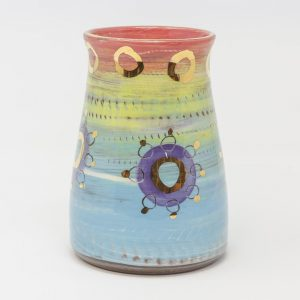 Leyla Folwell, Colombia, inspired, artisan, handmade, ceramics, pottery, vase, large, table, display, gold luster, bright, colours, pink, blue, purple