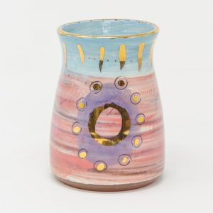 Colombia inspired artisan handmade ceramics pottery vase small for table display with gold luster and bright colours, pink, blue and purple